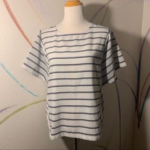 THE LIMITED EUC Gray and Black Striped Shirt med